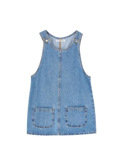 Denim pinafore dress with pockets