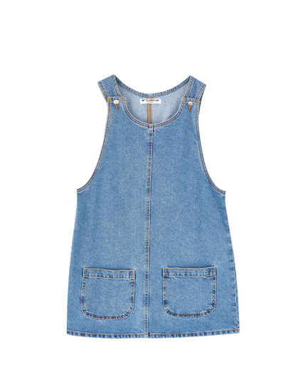 Denim pinafore dress with pockets