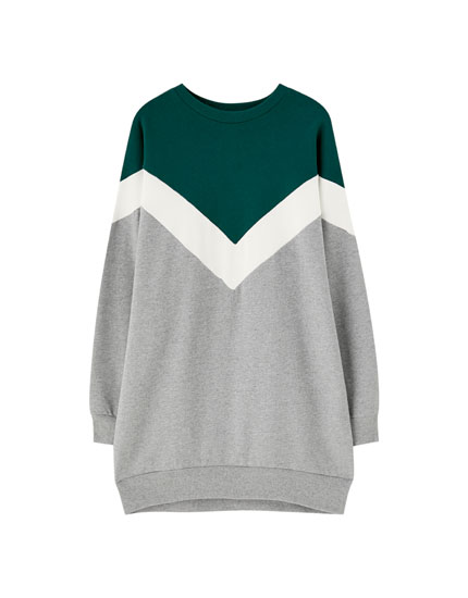 Colorblock sweatshirtjurk