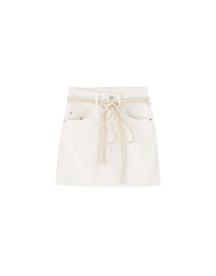 White denim mini skirt