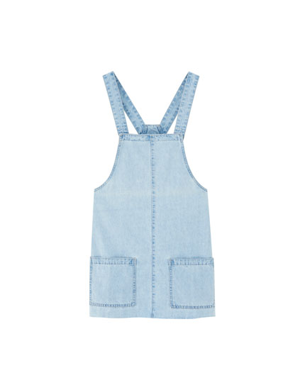 Pinafore dress with knotted straps