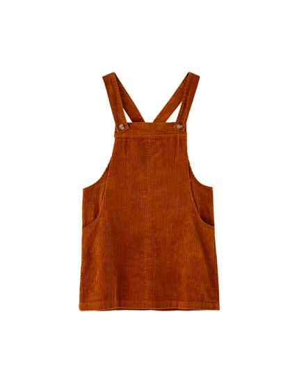 Corduroy pinafore dress with pockets