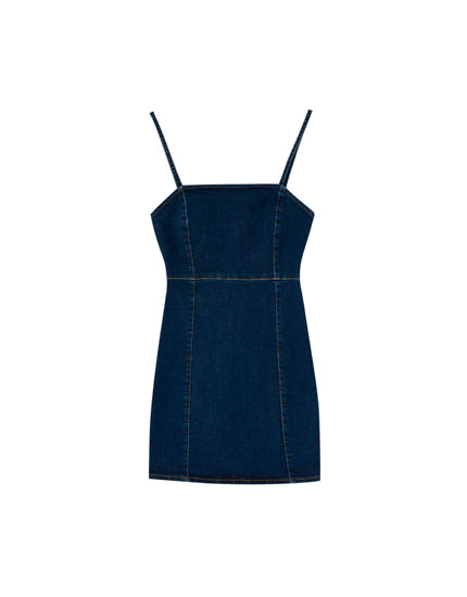 Straight-cut neckline denim mini dress