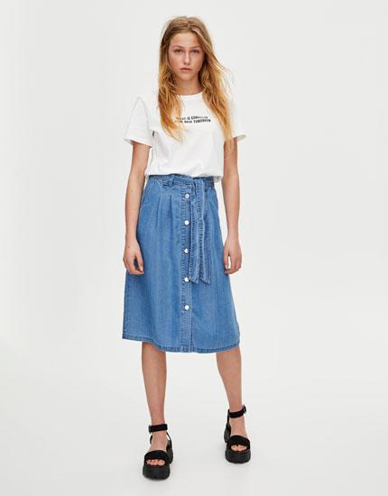 Button-down denim midi skirt