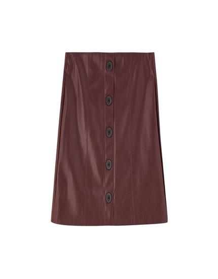 Minifalda efecto piel botones
