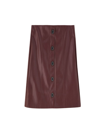 Faux leather mini skirt with buttons
