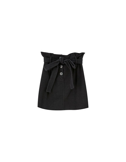 Buttoned paperbag mini skirt