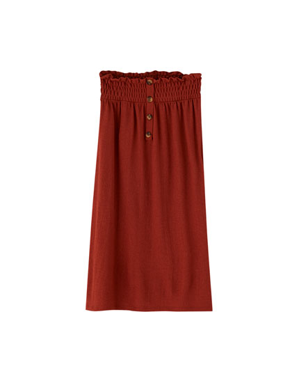 Paperbag midi skirt with buttons