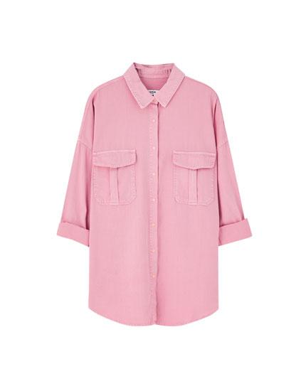 Oversized denim shirt in various colours