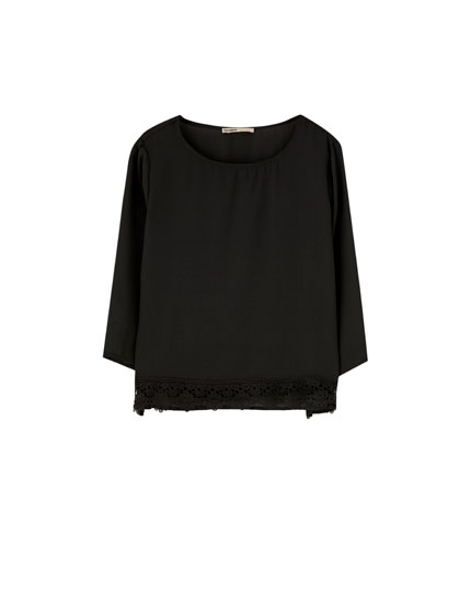 3/4 sleeve shirt with lace trim