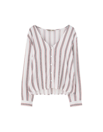 Basic striped V-neck shirt