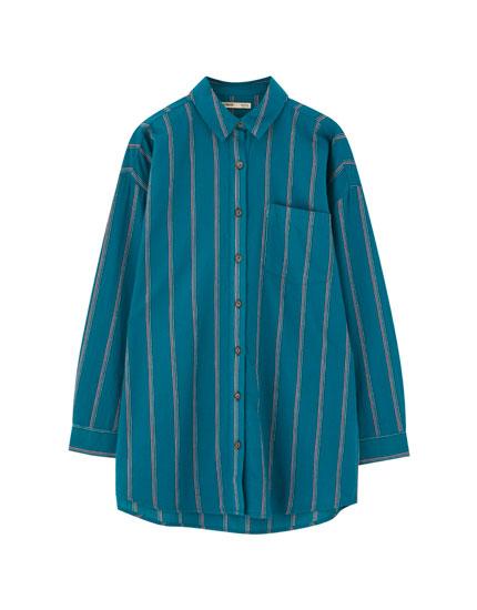 Camisa rayas bolsillo manga larga