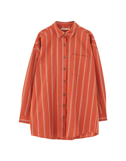 Striped long sleeve shirt with pocket