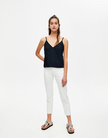 Jeans-Top mit V-Ausschnitt