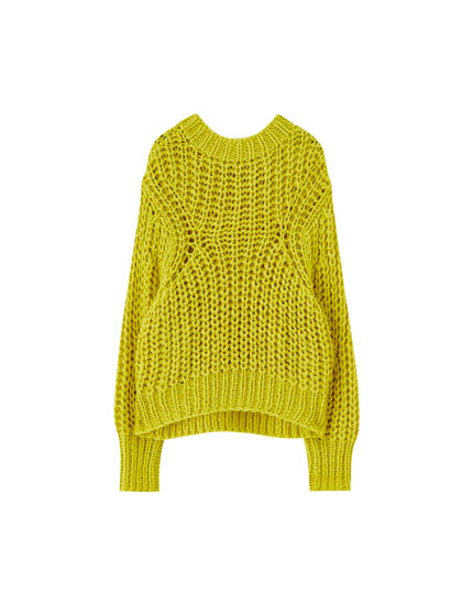 Pulover handmade din tricot gros