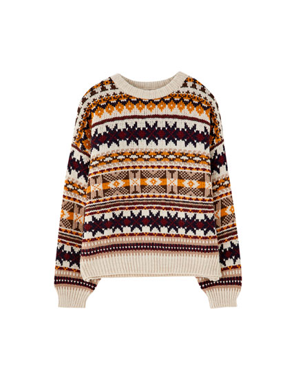 Jacquard Pullover mit All-Over Print