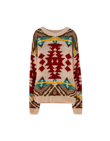 Patterned jacquard knit sweater