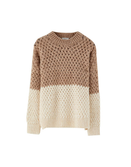Two-tone textured sweater