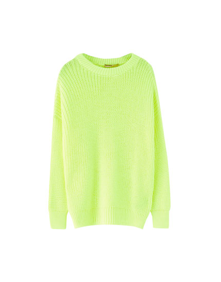 Neonfarvet sweater i vrangstrik