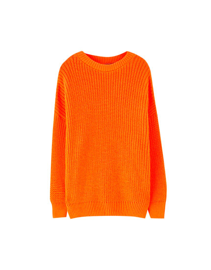 Neon purl knit sweater