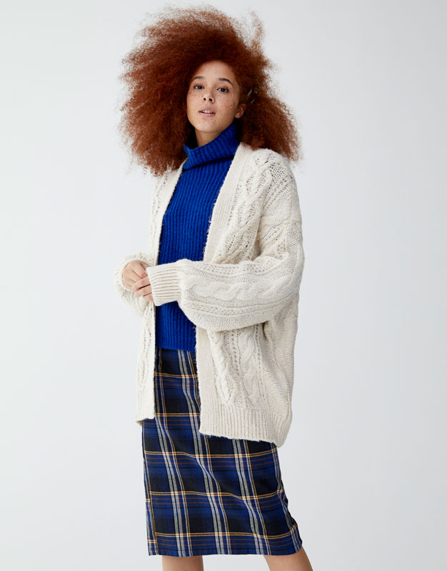Oversized Cable Knit Cardigan by Pull & Bear