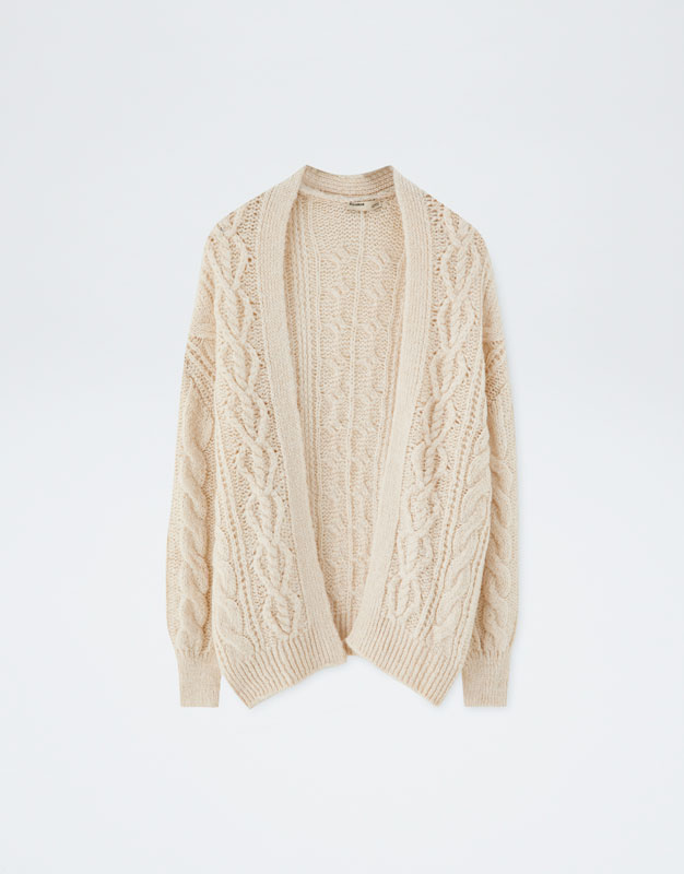 028a8c223c Oversized cable-knit cardigan - PULL BEAR