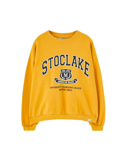 Sweat jaune moutarde style universitaire