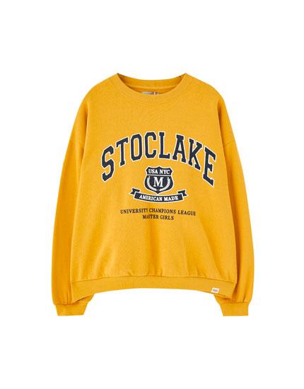 Mustard yellow varsity sweatshirt