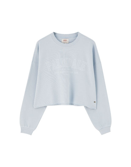 Faded-effect embroidered sweatshirt