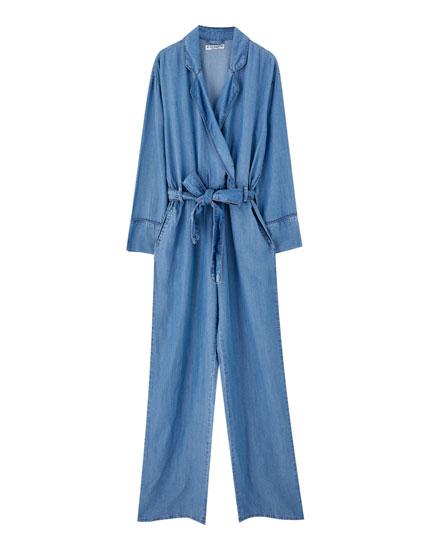 Pyjama-style denim jumpsuit