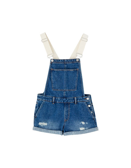 Denim dungarees with contrasting straps