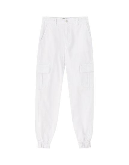 White cargo jeans