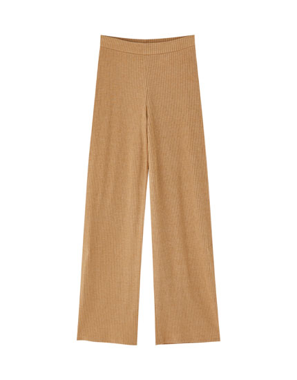 Flowing ribbed trousers