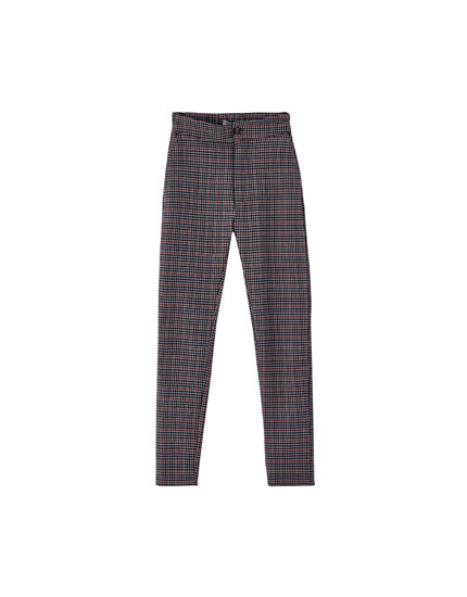 Houndstooth skinny trousers