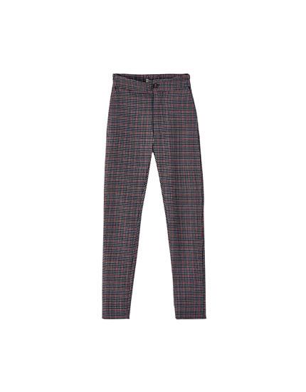 Skinny fit bukser med hanefjerdsmønster