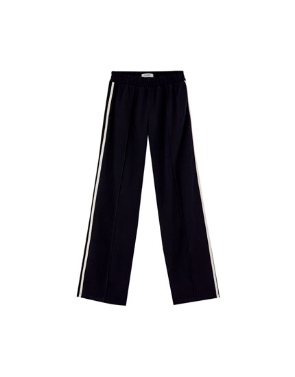 Sporty trousers with side stripes