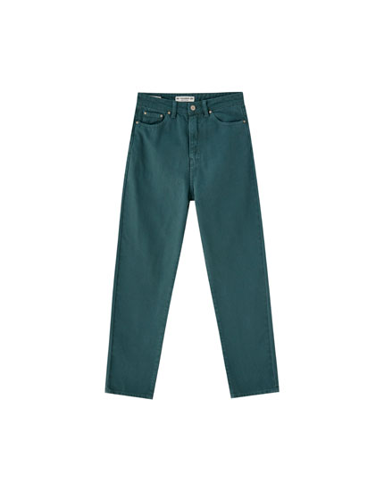 Coloured mom fit trousers