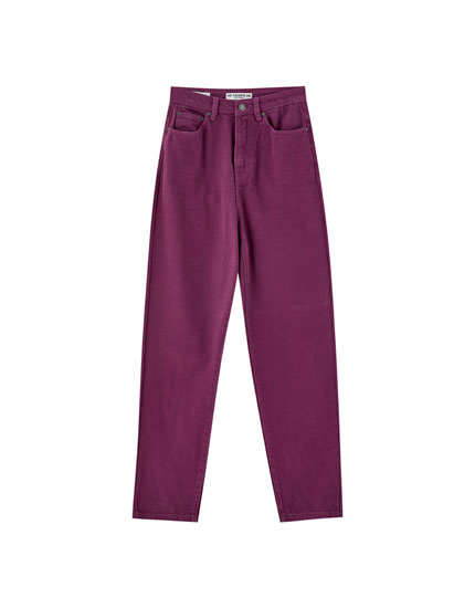 Pantaloni mom fit colorați