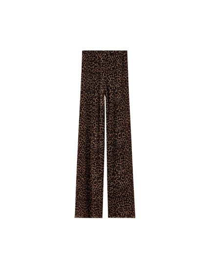 Pleated leopard print trousers