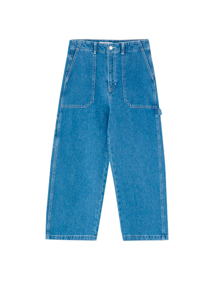 High-waist carpenter jeans
