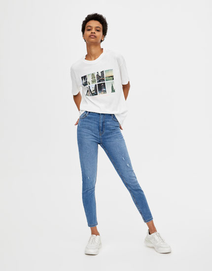 Jeans capri com cintura subida