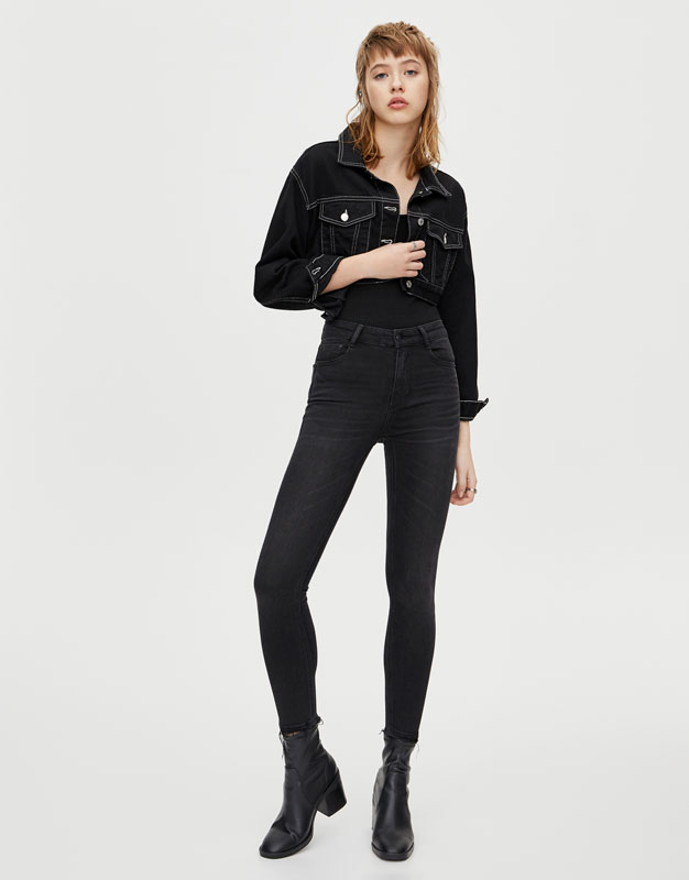 Skinny Fit Jeans Met Halfhoge Taille by Pull & Bear