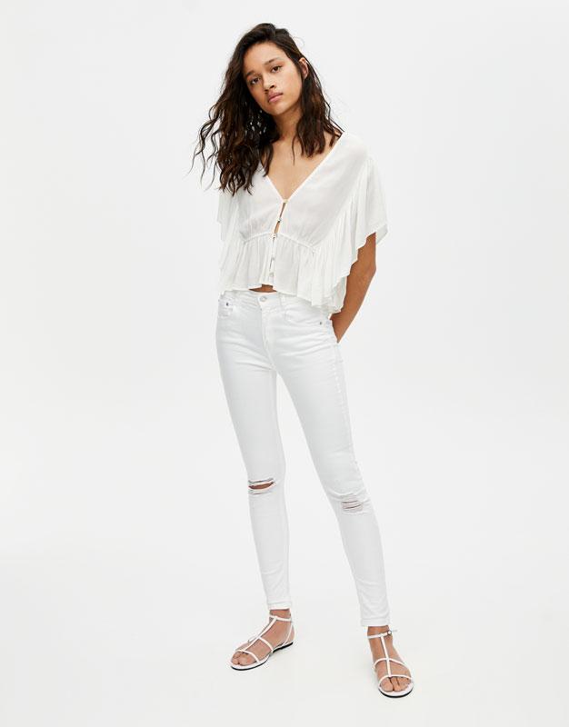 e10498aa003cc Jeans push up blanco - PULL BEAR