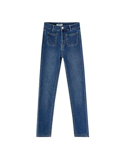 Skinny-Jeans mit vorderen Taschen