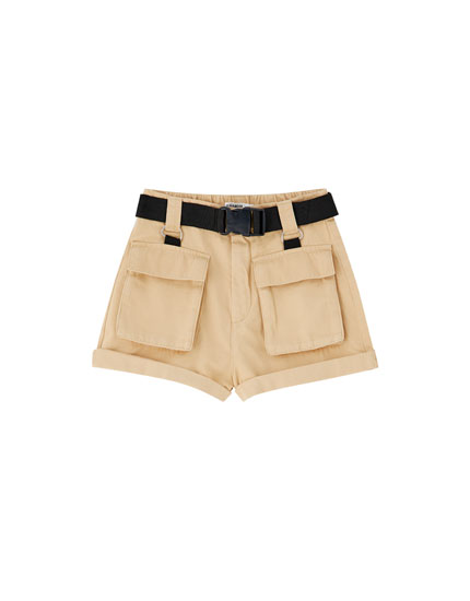 Cargo Bermuda shorts with contrast belt