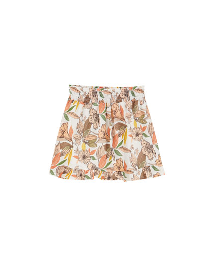Floral Bermudas with elastic waistband