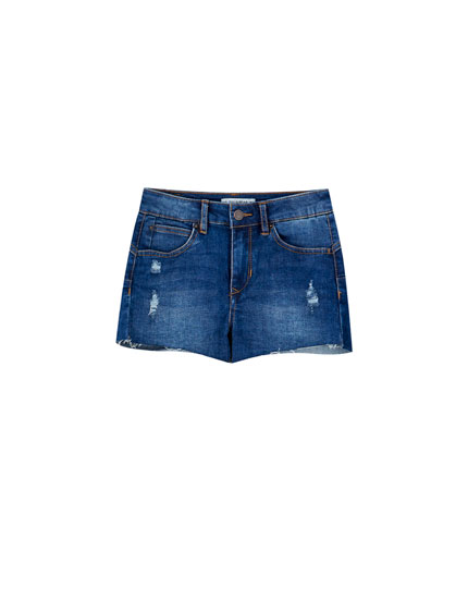 Mid waist push-up denim shorts