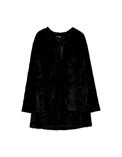 Faux fur kimono jacket