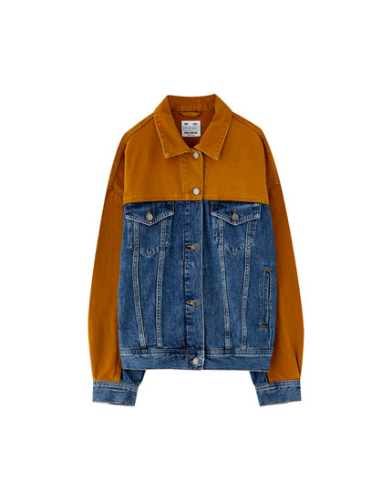 Oversized two-tone denim jacket