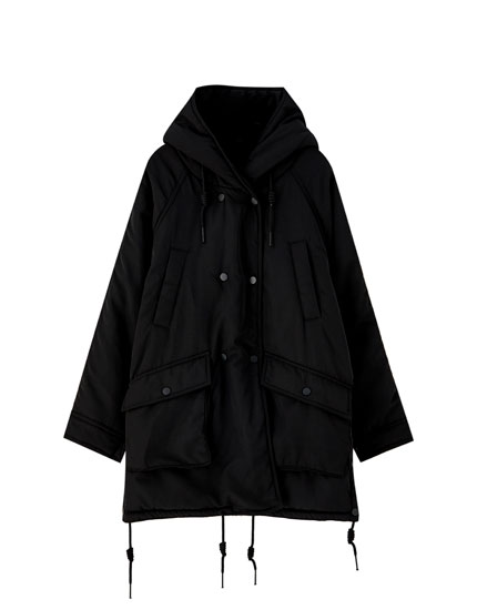 Double-breasted parka with faux fur lining